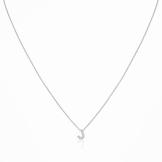 "18K White Gold Love Letter Collection Diamond ""J"" Initial Necklace"