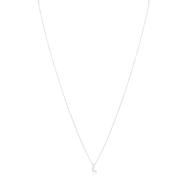 "18K White Gold Love Letter Collection Diamond ""L"" Initial Necklace"