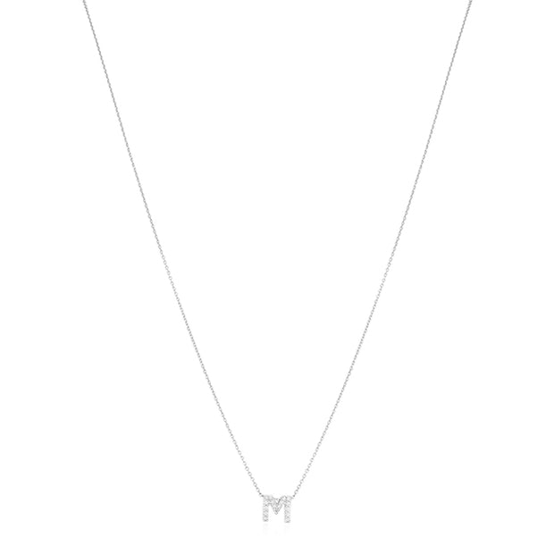 "18K White Gold Love Letter Collection Diamond ""M"" Initial Necklace"