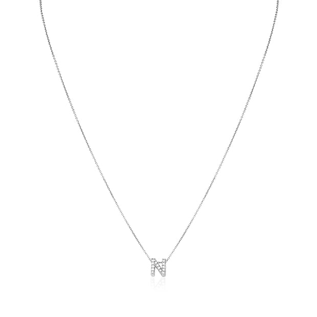 "18K White Gold Love Letter Collection Diamond ""N"" Initial Necklace"