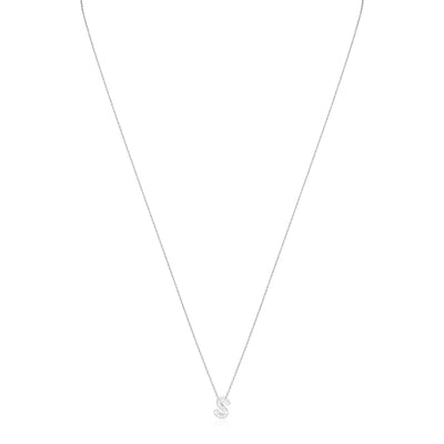 "18K White Gold Love Letter Collection Diamond ""S"" Initial Necklace"