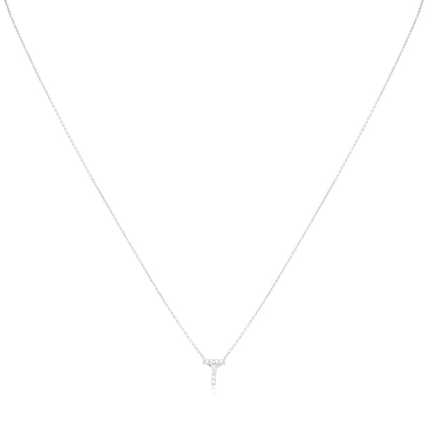 "18K White Gold Love Letter Collection Diamond ""T"" Initial Necklace"