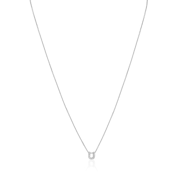 "18K White Gold Love Letter Collection Diamond ""U"" Initial Necklace"