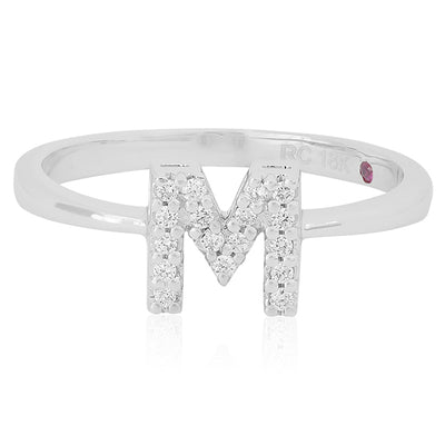 "18K White Gold Love Letter Diamond ""M"" Initial Ring"
