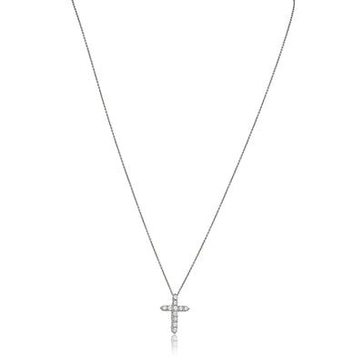 White Gold Cross Pendant Necklace