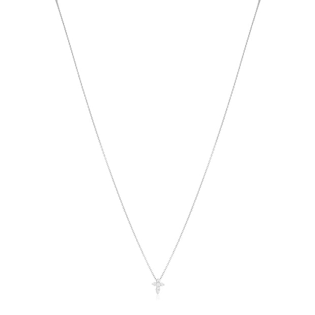 White Gold Small Cross Pendant Necklace