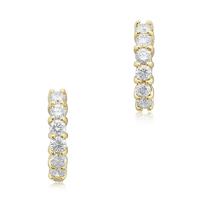 18K Yellow Gold 15mm Round Diamond Huggie Hoop Earrings