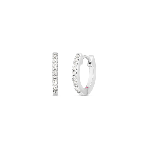 18K White Gold Extra Small Diamond Hoop Earrings