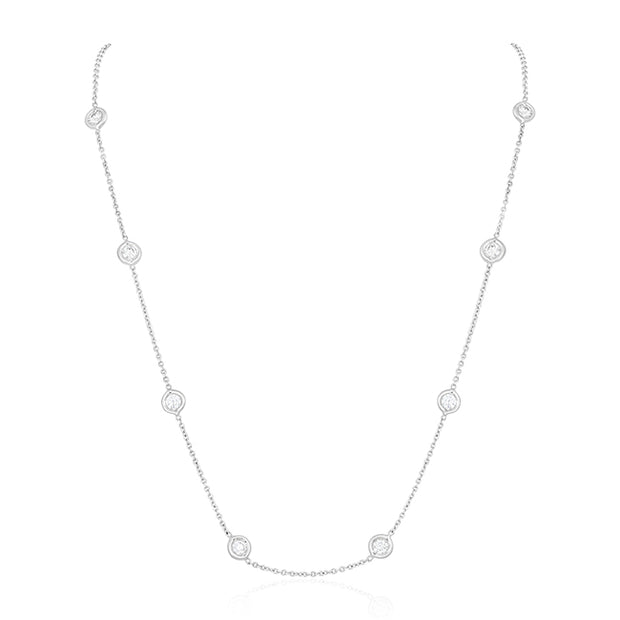 18K White Gold Necklace with 11 Round Diamond Stations