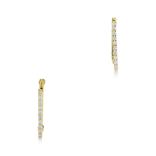 18K Yellow Gold Diamond Square Hoop Earrings