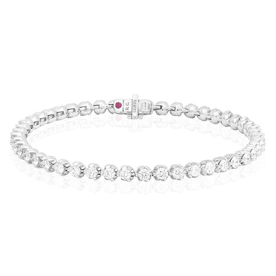 18K White Gold Cento Colletion Round Diamond Line Bracelet