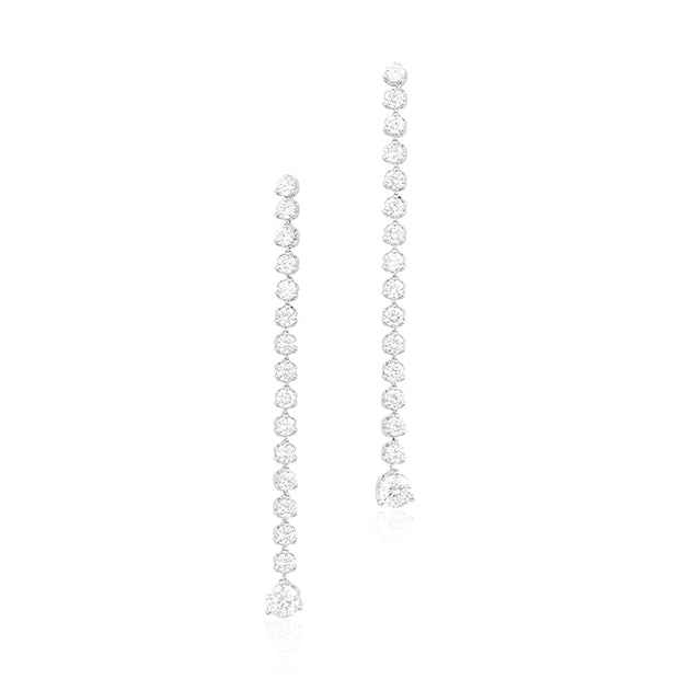 18K White Gold Cento Collection Round Diamond Drop Earrings