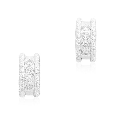 18K White Gold Cento Collection Diamond Huggie Hoop Earrings
