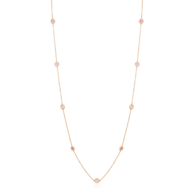 18K Rose Gold  Cento Collection Pink Sapphire and Diamond Necklace
