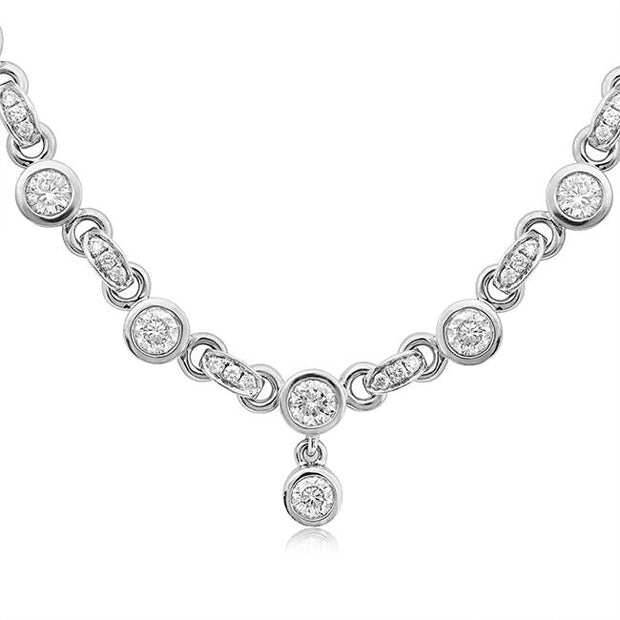 18K White Gold Cento Collection Bezel Set Round Diamond Necklace