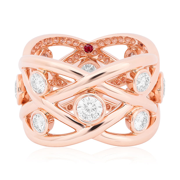 18K Rose Gold Cento Baci Collection Criss Cross Diamond Ring