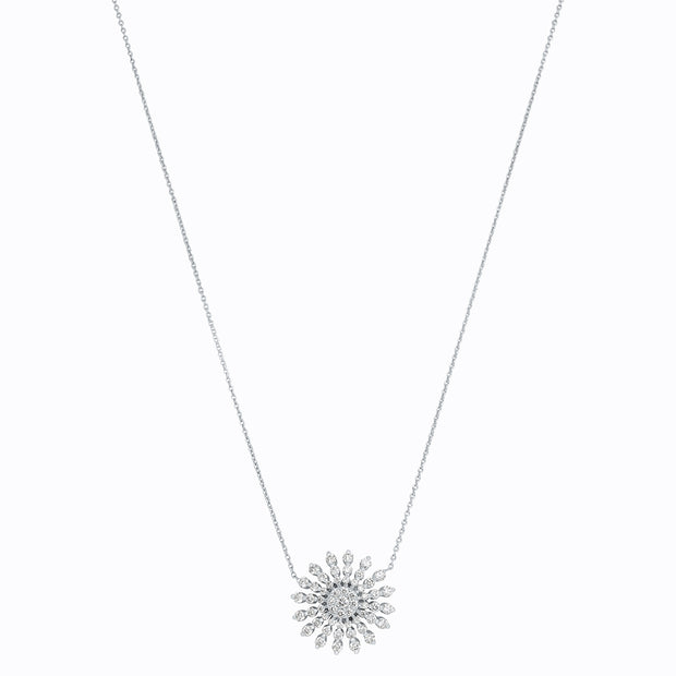 18K White Gold and Diamond Starburst Necklace