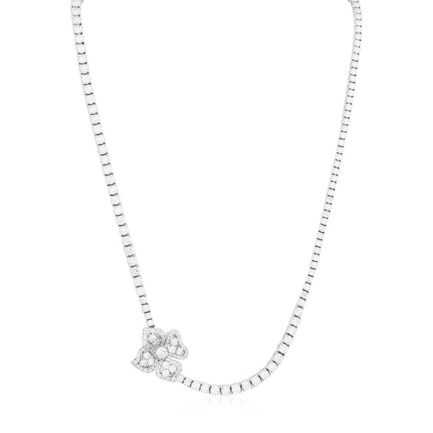 18K White Gold Fiore Couture Collection Round Diamond Necklace With Flower Design