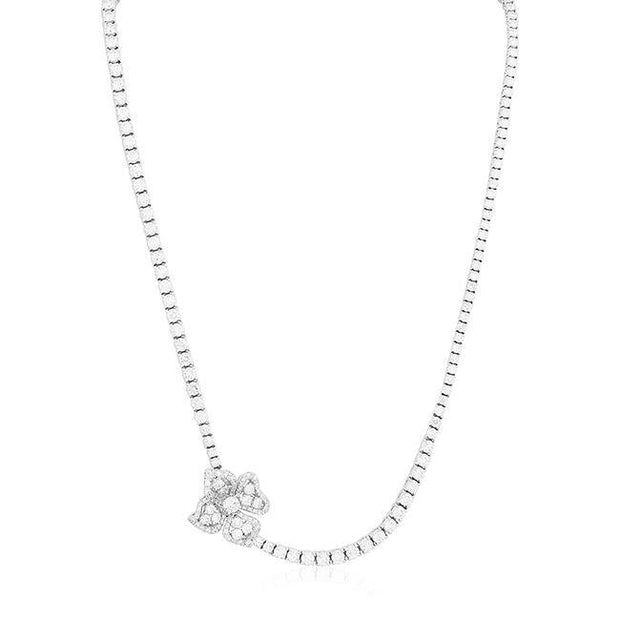 Roberto Coin 18K White Gold Fiore Couture Collection Round Diamond Necklace With Flower Design