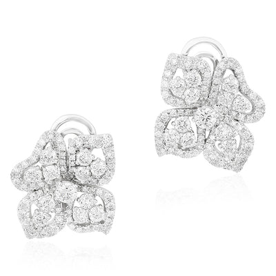 18K White Gold Fiore Couture Collection Diamond Flower Petal Stud Earrings