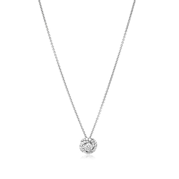 18K White Gold Cento Collection Diamond Swirl Necklace
