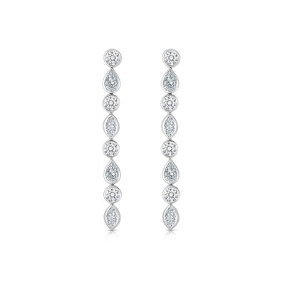 18K White Gold Cento Collection Diamond Drop Earrings