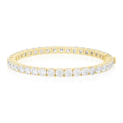 18K Yellow Gold Cento Collection Bangle With Round Diamonds