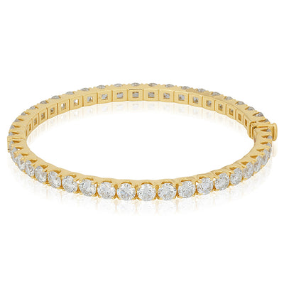 18K Yellow Gold Cento Collection Hinged Bangle With Round Diamonds