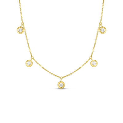 18K Yellow Gold Five Station Diamond Necklace