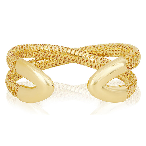 18K Yellow Gold Woven Crossover Bracelet