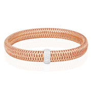 18K Rose Gold Primavera Collection Bangle Bracelet With A White Gold Station With Round Diamonds