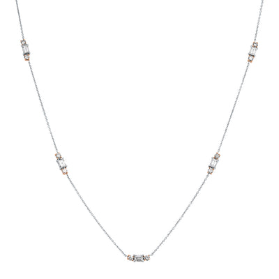 18K White and Rose Gold Diamond Station Necklace