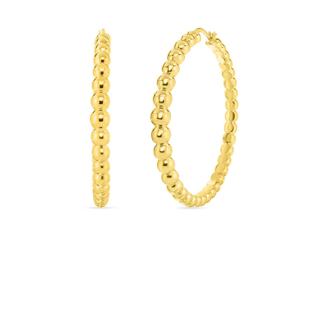 18K Yellow Gold Oro Classic Collection Bead Motif Hoop Earrings
