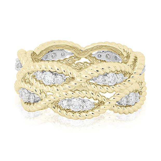 18K Yellow And White Gold Barocco Collection Ring With A Two Row Braided Design And Diamonds