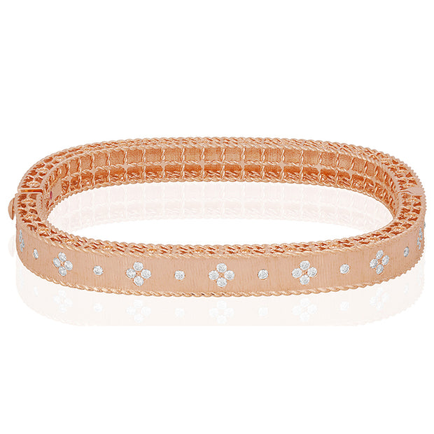 18K Rose Gold Princess Collection Diamond Bangle Bracelet