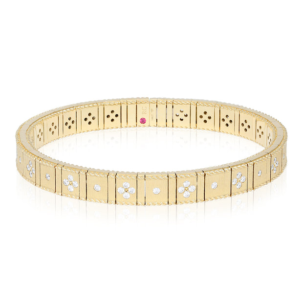 18K Yellow Gold Princess Collection Bangle Bracelet with Diamonds