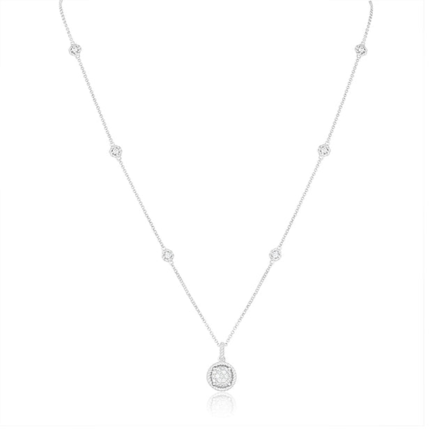 18K White Gold New Barocco Collection Pendant Necklace