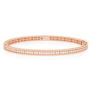 18K Rose Gold Symphony Collection Hinged Bangle Bracelet With Round Diamonds