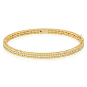 18K Yellow Gold Symphony Collection Hinged Oval Bangle Bracelet With Round Diamonds
