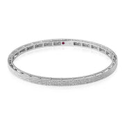 18K White Gold Symphony Collection Hinged Bangle Bracelet With Four Rows of Cable Design