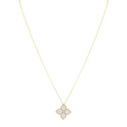 18K Yellow Gold Princess Flower Diamond Necklace