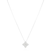 18K White Gold Princess Flower Collection Necklace With A Flower Pendant Set With Round Diamonds