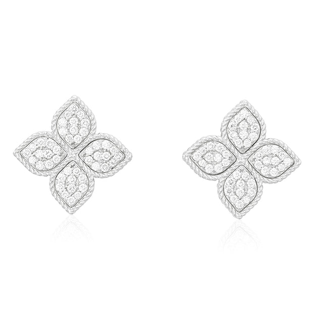 18K White Gold Princess Flower Collection Earrings with Diamond Petals
