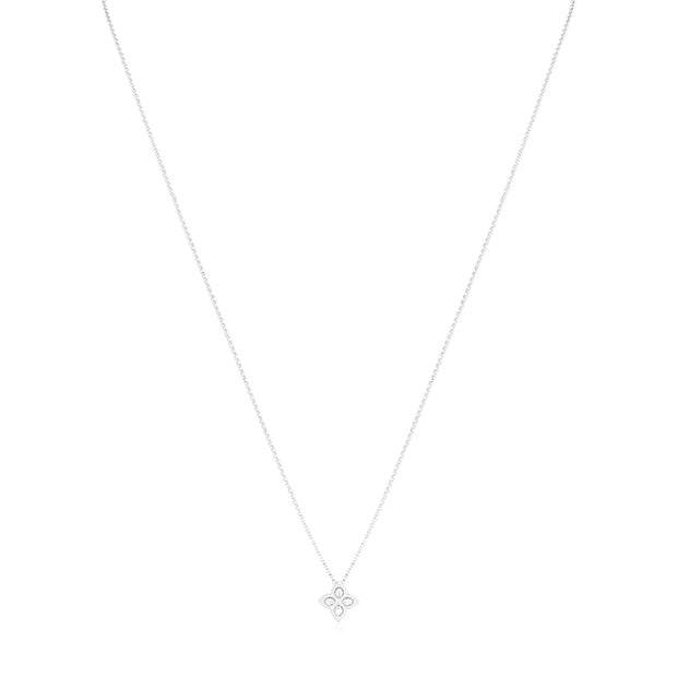 Princess Flower Collection White Gold Necklace