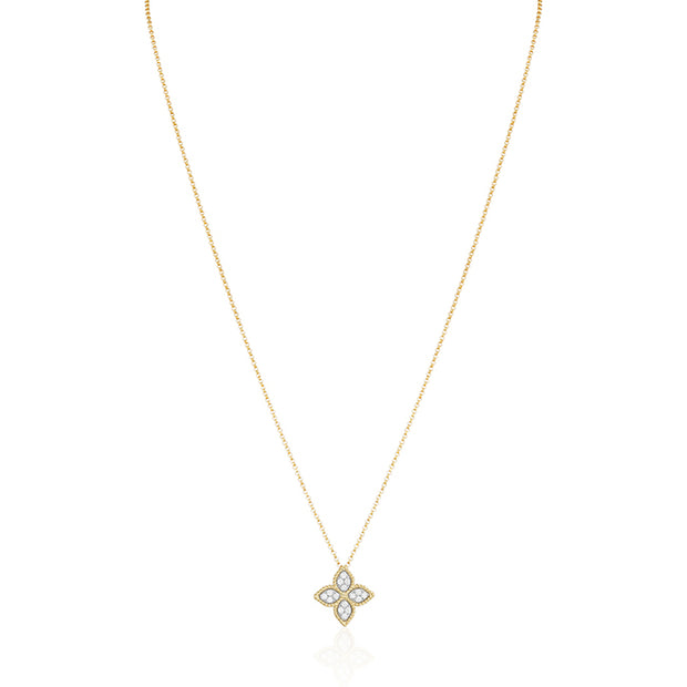 18K Yellow Gold Princess Flower Collection Necklace With Diamonds