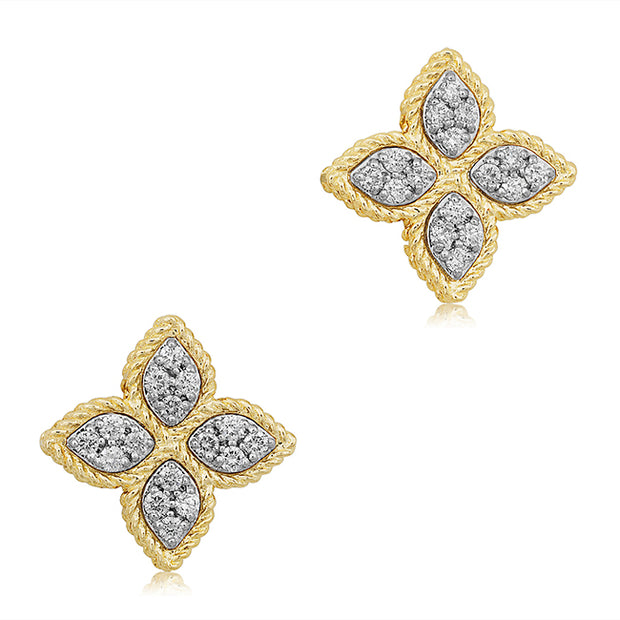 18K Yellow Gold Princess Flower Collection Stud Earrings