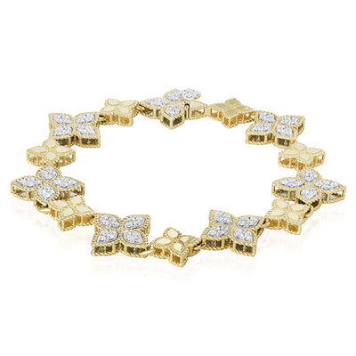 18K Yellow Gold Princess Flower Collection Bracelet With Flower Stations With Round Diamonds