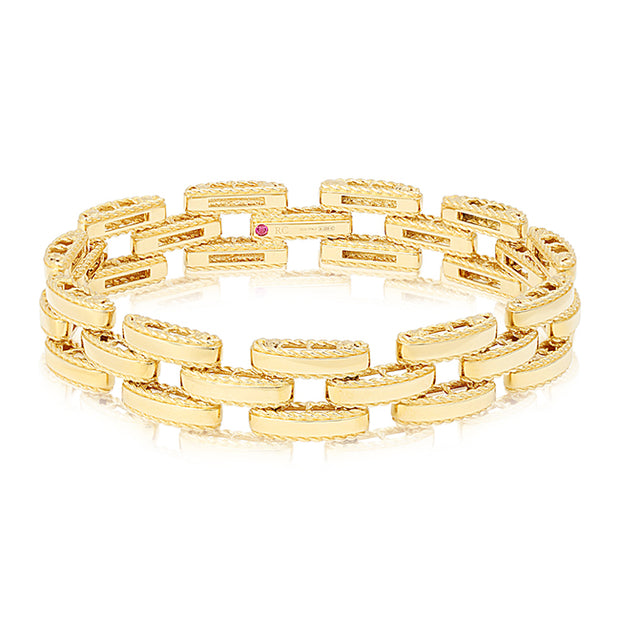 18K Yellow Gold Retro Collection Link Bracelet