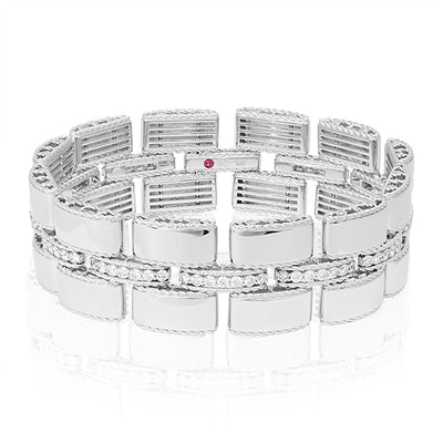 Retro Collection 18K White Gold Link Bracelet With Diamonds