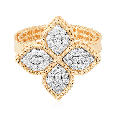 18K Yellow Gold Princess Flower Collection Ring With Petal Stations Set With Round Diamonds